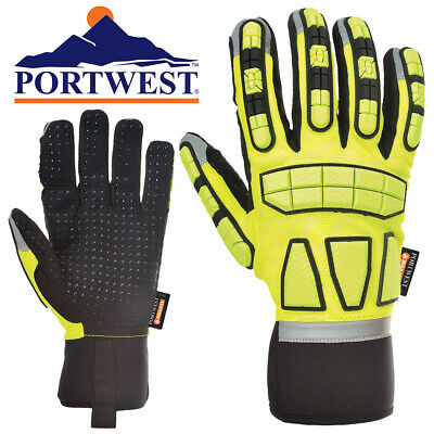 Portwest Insulated Cold Weather Impact Safety Gloves With Pvc Grip - Select Size