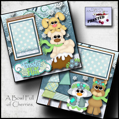 Cherry Scrapbooking Paper - FROSTY FUN ~ WINTER SNOW ~ 2 Premade Scrapbooking Pages paper printed BY CHERRY