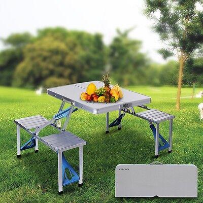 Aluminum Garden Portable Folding Camping Picnic Table  4 Seats ship fast