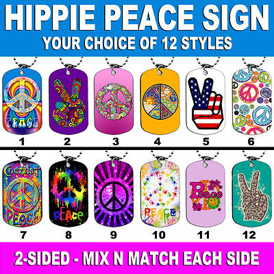 DOG TAG NECKLACE - PEACE SIGN HIPPIE 60