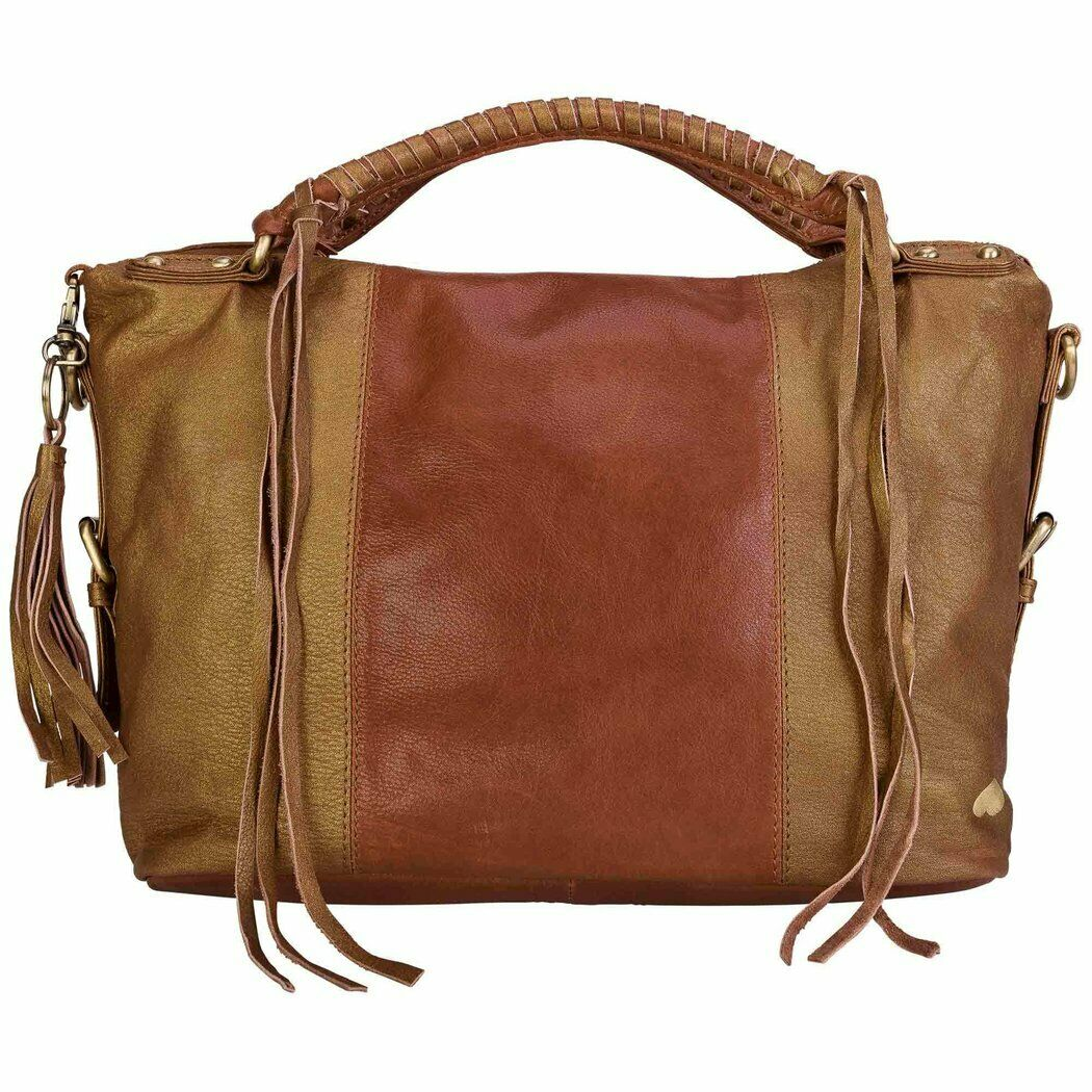 Turned Love Damen Bowlingtasche Cognac-Gold