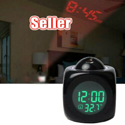 Projector LED Alarm Clock Voice Talk Temperature Wall/Ceiling Digital Projection