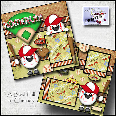 BASEBALL ~ boy PRINTED 2 PREMADE SCRAPBOOK PAGES layout paper piecing BY CHERRY