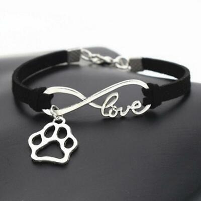 Armband Freundschaftsarmband schwarz silber Love Anhänger Pfote Hund Katze Charm (Freundschaft Charm Armbänder)