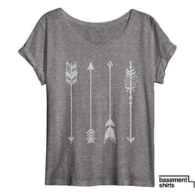Women's Arrow Shirt Cool Arrow Pattern Art Dolman Tee Top Vintage