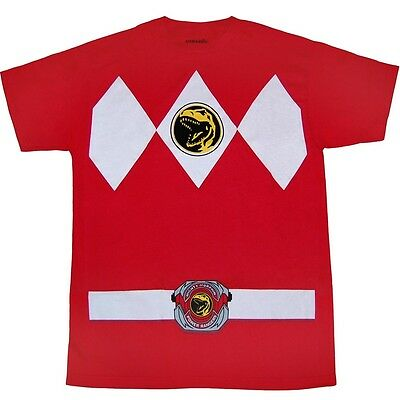AUTHENTIC MIGHTY MORPHIN I AM RED POWER RANGER RANGERS MENS COSTUME SHIRT S-4XL (Authentic Power Ranger Costumes)