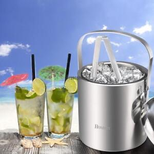 Insulated Double Wall Stainless Steel Ice Bucket w/ Handle and Ice Tongs Silver