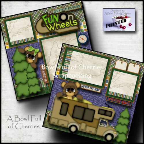 FUN ON WHEELS ~ RV 2 premade scrapbook pages paper piecing camping layout CHERRY