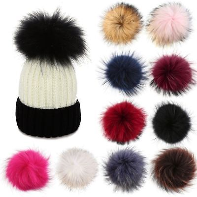DIY Women Faux Raccoon Fur Pom Poms Ball for Knitting Beanie Hat Cap - Diy Hats