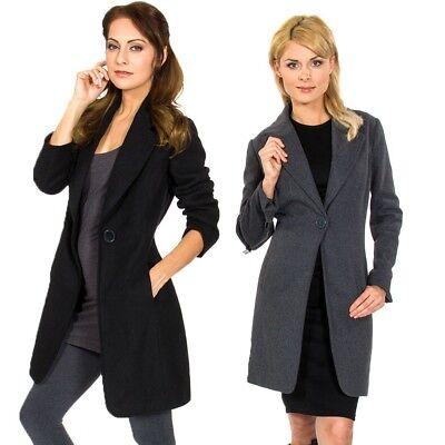 Alpine Swiss Stella Women's Wool Single Button Overcoat 7/8