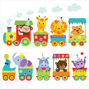 Jungle Animal Train Wall Art Stickers Decal Mural Transfer Elephant Lion  Tiger Part 98