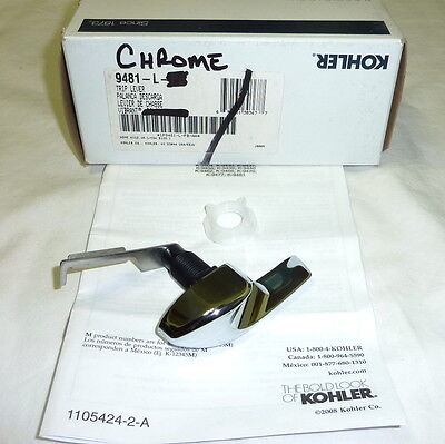 Hand Polished Chrome Trip Lever - Kohler 9481-L-CP Left Hand Mount Toilet Trip Lever Brass POLISHED CHROME NEW!