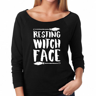 RESTING WITCH FACE funny Halloween broomstick broom Women's Raglan T-Shirt](Funny Halloween Faces)