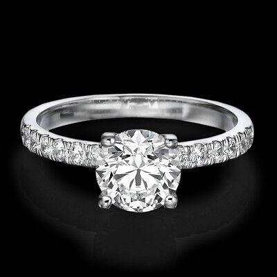 1 Carat D SI1 Enhanced Diamond Engagement Ring Round Cut 18K White Gold