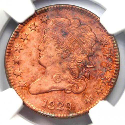 1829 Classic Head Half Cent 1/2C - NGC AU Details - Rare Certified Coin!