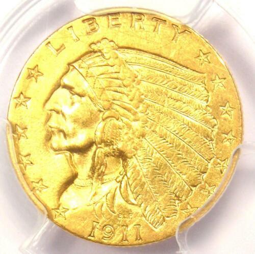 1911 Indian Gold Quarter Eagle $2.50 Coin - PCGS Uncirculated Details (UNC MS)!