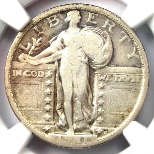 1921 Standing Liberty Quarter 25C Coin - Certified NGC F12 (Fine) - Rare Date!