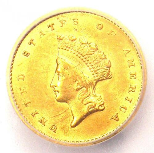 1854 Type 2 Indian Gold Dollar G$1 Coin - ICG MS60 Details (UNC). Rare Type Two!