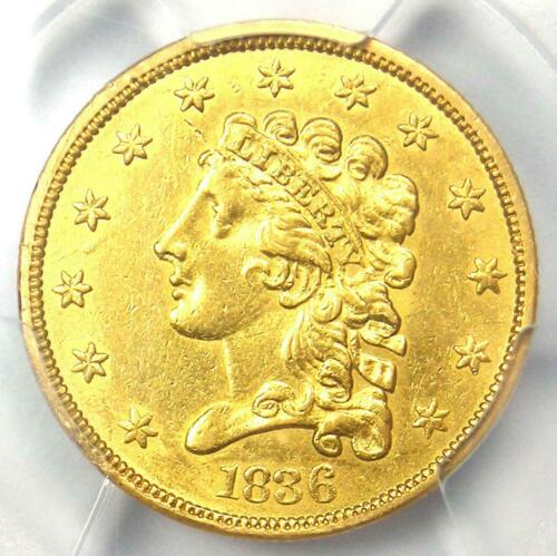 1836 Classic Gold Quarter Eagle $2.50 Coin - PCGS Uncirculated Details (UNC MS)
