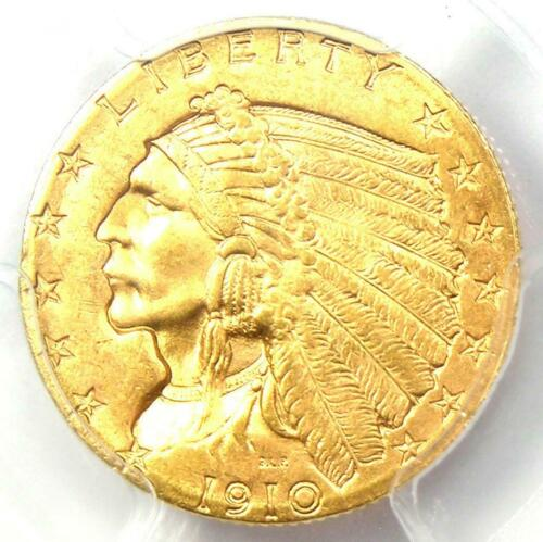 1910 Indian Gold Quarter Eagle $2.50 Coin - Certified PCGS MS64 - $1,350 Value!