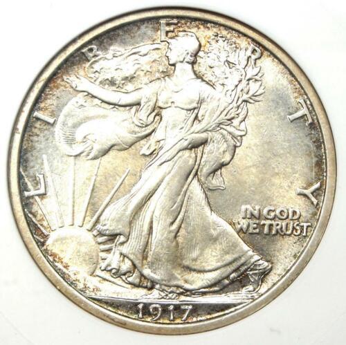 1917 Walking Liberty Half Dollar 50C - Certified ANACS MS61 (BU UNC) - Rare Date