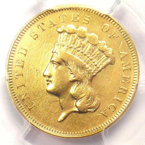 1863 Three Dollar Indian Gold Coin $3 - PCGS XF Details - Rare Civil War Date!