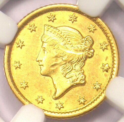 1853-O Liberty Gold Dollar Coin G$1 - NGC Uncirculated Detail - Rare MS UNC Coin