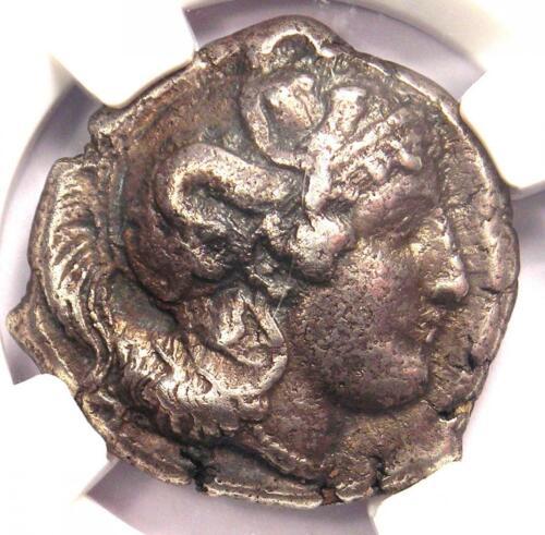 Lucania Thurium AR Silver Distater Coin with Athena, Bull 300 BC - NGC Choice VF