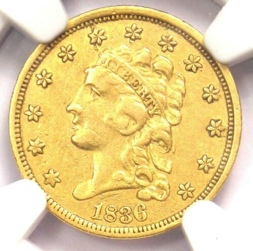 1836 Classic Gold Quarter Eagle $2.50 - NGC XF Details (EF) - Rare Coin!
