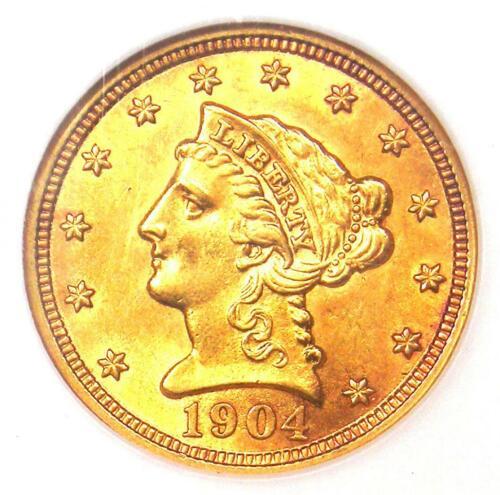 1904 Liberty Gold Quarter Eagle $2.50 Coin - NGC MS61 (BU UNC) - Rare Coin!