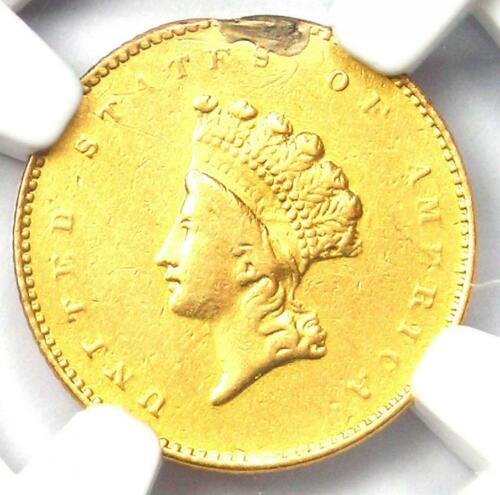 "1856-S Indian Gold Dollar (G$1 Coin) - Certified NGC AU Detail - Rare ""S"" Mint!"