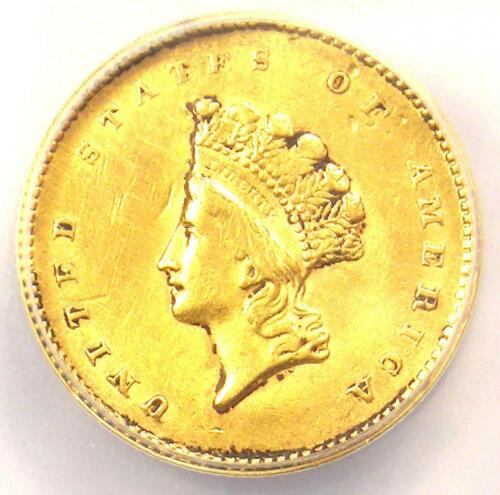 1855 Type 2 Indian Gold Dollar (G$1 Coin) - ANACS XF45 Details - Rare Type!