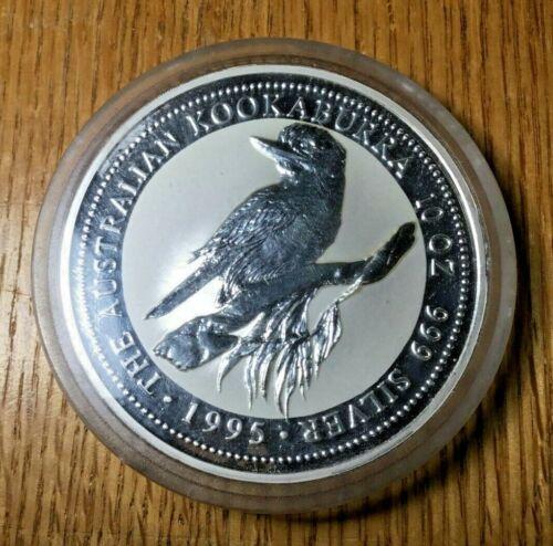 1995 10 oz silver Australia Kookaburra capsule Perth Mint ounce
