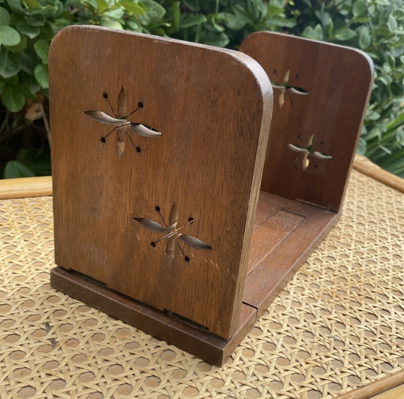 Vintage Starburst Book Holder Bookends Atomic Wooden Folding Stand Wood Decor