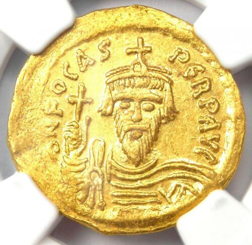 Byzantine Phocas AV Solidus Gold Coin 602-610 AD - Certified NGC AU Condition