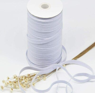 1/4'' Wide x 144 Yards - White Braided Flat Elastic - FAST SHIPPING