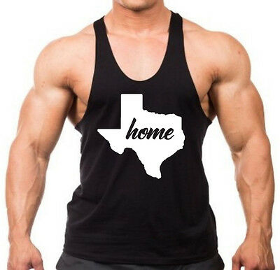Men's Home Texas Map Stringer Tank Top Shirt Muscle Workout State town TX V270 (Map Tank)
