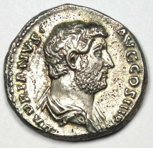 Ancient Roman Empire Hadrian AR Denarius Coin 117-138 AD - XF Condition (EF)