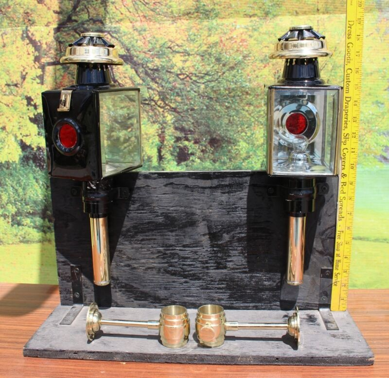 Pair of new horse drawn 12 volt carriage lamps BRASS trim &  heavy holders