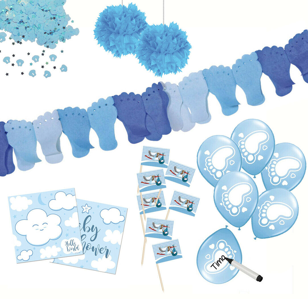 Baby-Partyset blau Shower Deko Gender Reveal Babyshower XXL Pompom Boy Junge