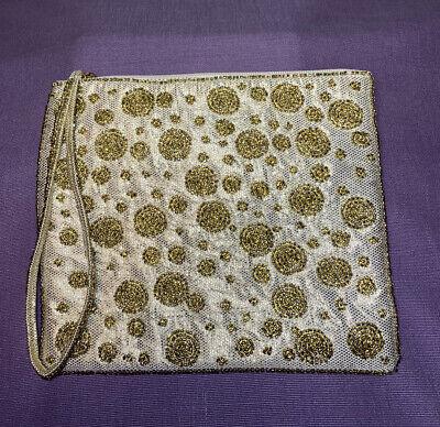 1920s Handbags, Purses, and Shopping Bag Styles Charming Charlie RSVP Gold Sparkle Beaded Purse Wristlet Clutch Fancy $12.00 AT vintagedancer.com