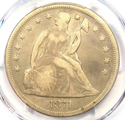 1871 Seated Liberty Silver Dollar $1 - PCGS Fine Details - Rare Certified Coin!