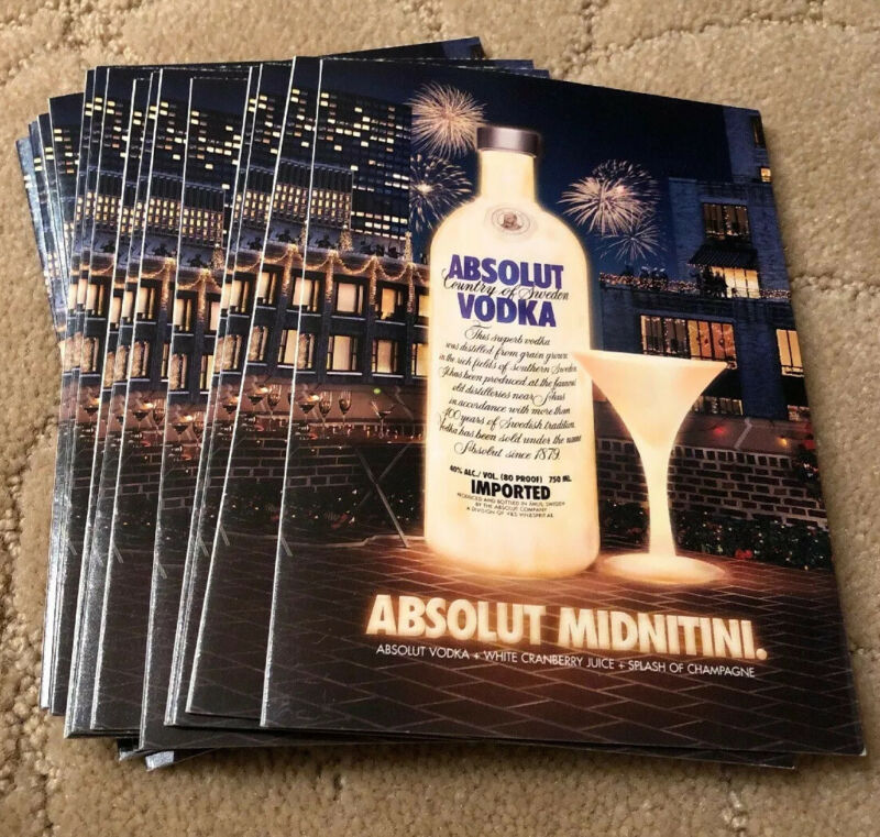 Absolut Midnitini Vodka Holiday Cards Set Of 15 Brand New Cards Happy New Year