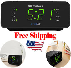 Emerson Smart Set Alarm Clock Radio with AM/FM Radio Dimmer Sleep Timer New