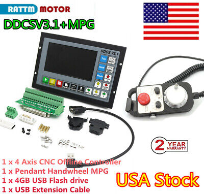 Usa 4 Axis Stand Alone Motion Offline Cnc Controller Ddcsv3.1 W Handwheel Mpg