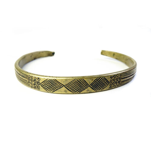 Old antique solid brass engraved collar necklace from Ethiopia