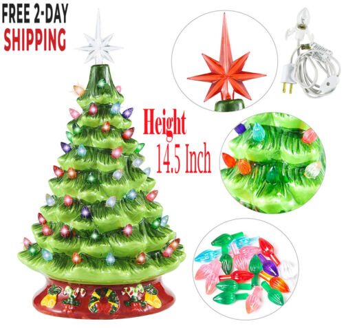 "Ceramic Christmas Tree Lighted 15"" - Green - Flocked - Holly Base"