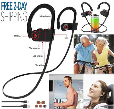 Wireless Bluetooth Headphones Earbuds Sweatproof Neckband Headset with Mic