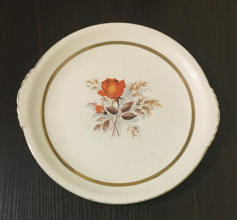 "VINTAGE PADEN CITY POTTERY Orange Rose 10"" Dinner Plate 22K GOLD"