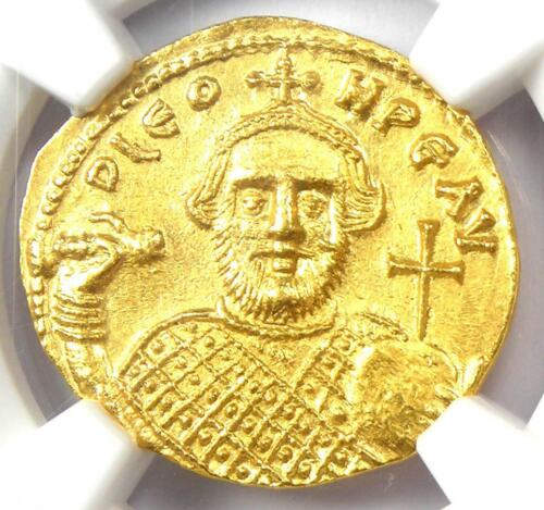 Byzantine Leontius AV Solidus Gold Coin 695-698 AD - Certified NGC MS (UNC)